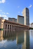 image of prudential center  - Christian Science Plaza in midtown Boston with urban city view and water reflection - JPG