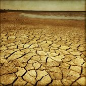 Drought land in grunge and retro style.