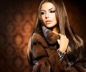 stock photo of jacket  - Beauty Fashion Model Girl in Mink Fur Coat - JPG