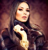 pic of mink  - Beauty Fashion Model Girl in Mink Fur Coat - JPG