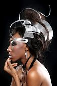 Sculpted Metal Headpiece on a Beautiful Model Posing