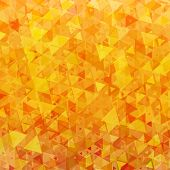 Bright orange scattered triangles background