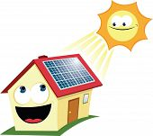 stock photo of house representatives  - a vector cartoon representing a funny house with solar panels - JPG
