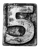 Metal alloy alphabet number 5