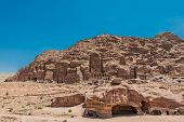 PETRA, JORDAN - MAY 10: tourists visiting Royal tombs in nabatean petra jordan middle east on may 10