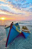 stock photo of fishermen  - blue fisherman boats and sunrise - JPG