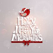 stock photo of year 2014  - Christmas typographic label for Xmas and New Year holidays design - JPG