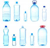 Collage of different bottles with water
