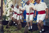 Sherry, Spain - September 10, 2013: Traditional Stomping Grapes In Sherry