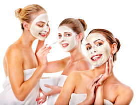 foto of beauty parlour  - Group women with  facial mask in beauty spa - JPG