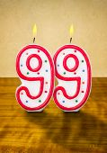 Burning birthday candle number 99 on a wooden background