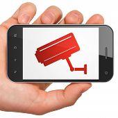 Safety concept: Cctv Camera on smartphone