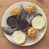 stock photo of sabbatical  - Tasty sweet cookies on the round plate - JPG