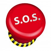 detailed illustration of an industrial emergency SOS button, eps10 vector