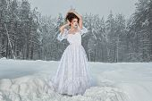 Bride In Winter Forest.
