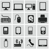 Set of technical and hardware vector icons