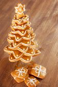 Gingerbread Christmas Tree.gingerbread Cookies Stacked As Christmas Tree.