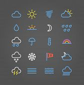 Weather forecast color web icons collection