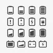 Different accumulator status icons set with rounded corners. Design elements