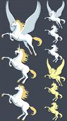 stock photo of unicorn  - Pegasus unicorn and stallion clip art - JPG