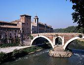 Bridge across river, Rome, Italy.
