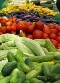 picture of farmers market vegetables  - Vertical shot of colorful vegetables at the farmer - JPG