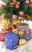 Decorated tree and cookie tins