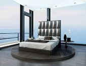 Bedroom interior with ultramodern cool bed
