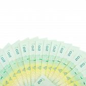 stock photo of semi-circle  - Bills price twenty bath were placed in a semi - JPG