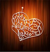 background, with the words (Valentine's Day) , pinned to a wooden wall