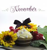 Beautiful Fall Thanksgiving Theme Cupcake With Seasonal Flowers And Decorations For The Month Of Nov