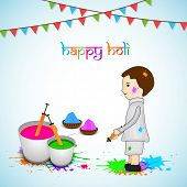 Indian colour festival Happy Holi celebrations concept with cute little boy playing with colours on