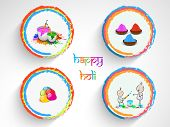 Indian colour festival Happy Holi celebrations sticker, tag or label set on grey background.