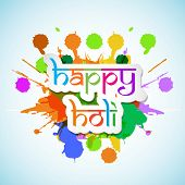 Indian colour festival Happy Holi celebrations with stylish text on colourful splash background.