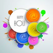 Indian festival Happy Holi celebrations concept with stylish text and water colours on blue backgrou