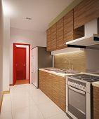 wood kitchen room
