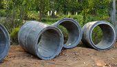 Concrete Sewage Pipes Under Construction
