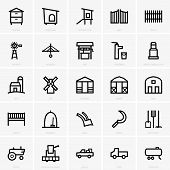 stock photo of truck farm  - Set of Farm icons on grey background - JPG