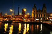 BARCELONA, SPAIN - AUGUST 20: Port Vell and Columbus Monument at night on August 20, 2013 in Barcelo