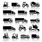stock photo of lorries  - Set of truck black icons - JPG