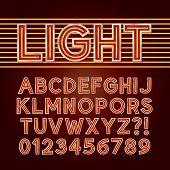 Red Neon Light Alphabet