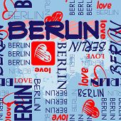 art seamless vector pattern background with word Berlin