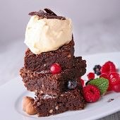 stock photo of brownie  - brownies and icecream - JPG