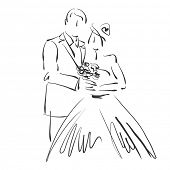 art sketched beautiful young bride and groom with the bride's bouquet