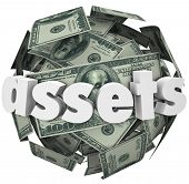 picture of possess  - Assets Word Money Ball Financial Value Savings Investments - JPG