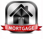 mortgage sign or button house loan paying money costs back to bank to avoid foreclosure and reposses