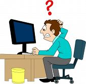 Confused man sitting at computer with question mark above head