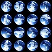 16 high-gloss winter themed buttons