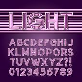 Purple Parallel Neon Light Alphabet
