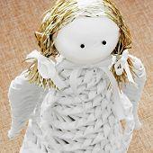 Closeup Of A White Decorative Paper Angel